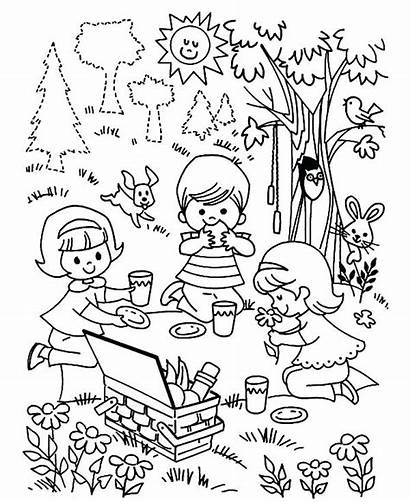 Picnic Playing Coloring Children Pages Three Drawing