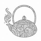 Coloring Teapot Tea Abstract Pages Pdf Open sketch template