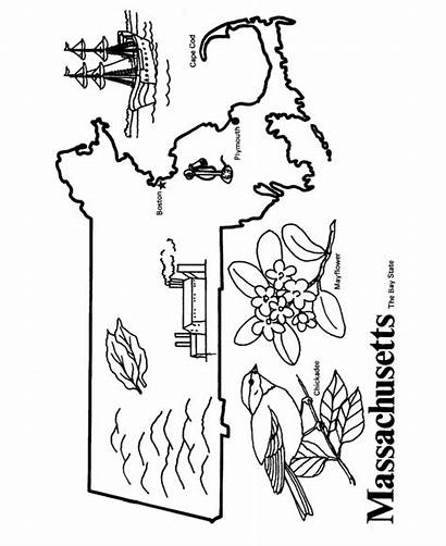 Massachusetts Coloring Map Printables State Outline Pages