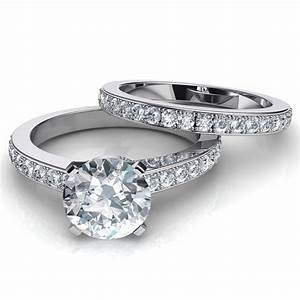novo round brilliant diamond engagement ring matching With wedding ring band sets