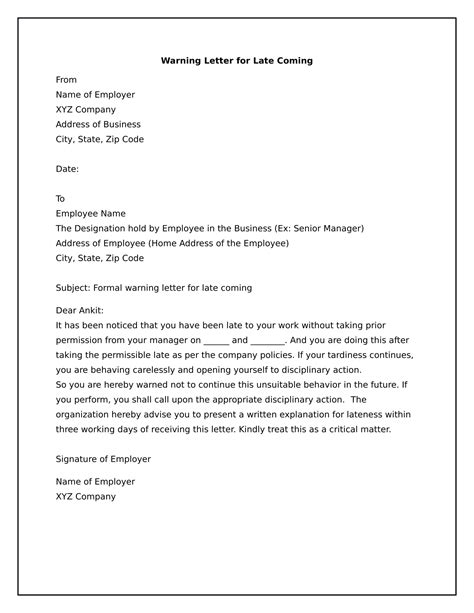 write  warning letter employee  late coming