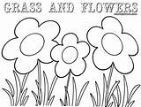 Grass Coloring Colorings Coloringway sketch template