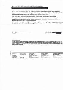 Einverständniserklärung Datenweitergabe Arzt : einverst ndniserkl rung an krankenkasse erwerbslosen ~ Themetempest.com Abrechnung