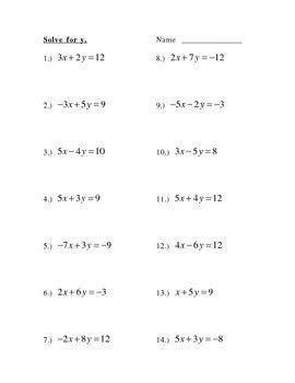 solve for y slope intercept form worksheet for