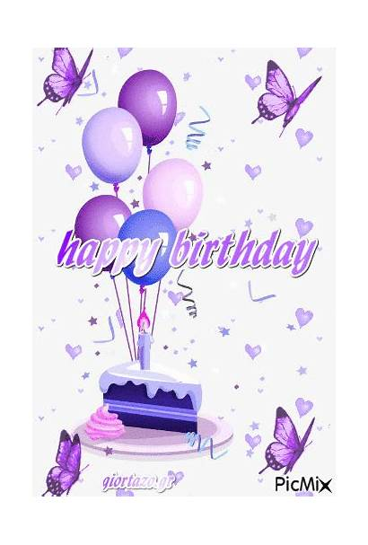 Birthday Happy Animated Purple Cake Quote Messages