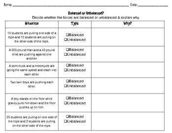 Balanced And Unbalanced Forces Worksheet Siteraven