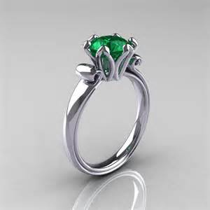 emerald gold engagement rings antique 14k white gold 1 5 carat emerald engagement ring ar127 14kwgem