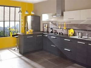 Deco Mur De Cuisine : belle cuisine noir blanc jaune ~ Zukunftsfamilie.com Idées de Décoration