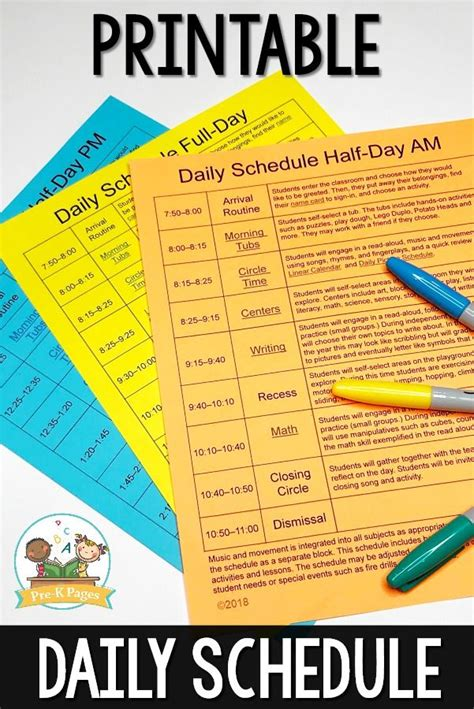 editable daily schedule templates daily schedule
