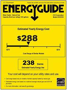 Current Energyguide Label For Water Heaters  A Color