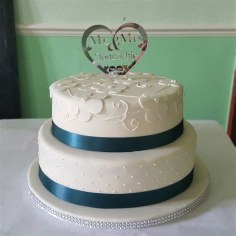 2 Tier Teal And Ivory Wedding Cake Cakes By Siobhan