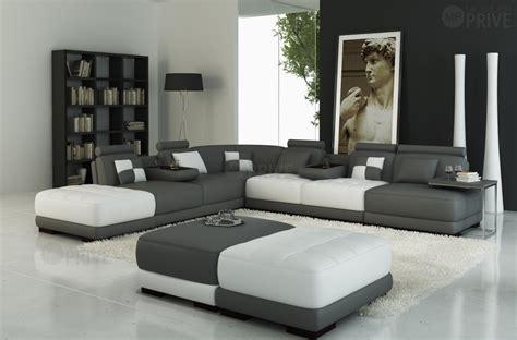 canap 233 d angle en cuir italien 7 8 places elixir gris fonc 233 et blanc mobilier priv 233