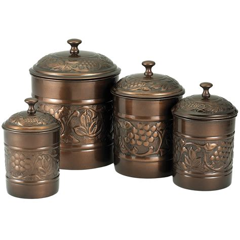 Kitchen Canisters by Kitchen Canister Set Antique Copper Set Of 4 In