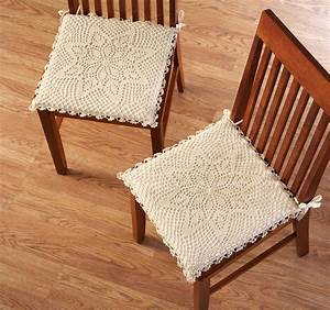 Tie string crochet kitchen chair cushion pad on popscreen for Chair cushion covers with ties