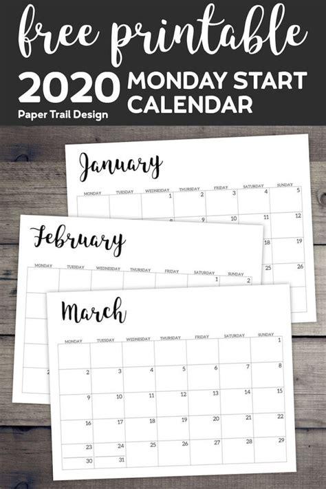 printable  calendar monday start