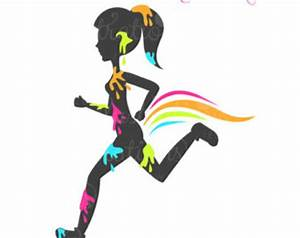 Paint Splattered Running Girl Silhouette Character