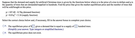 cost of christmas trees at orchard hardware solved suppose that the demand and supply for artificial chegg