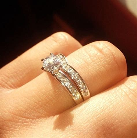 wedding rings shaped to fit engagement rings hello