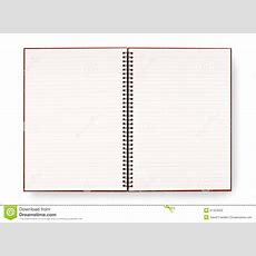 Blank Open Spiral Writing Book Or Notepad, Lined Paper, Isolated On White Background Stock Photo