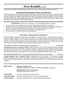 anesthetist cv template exle anesthetist resume free sle