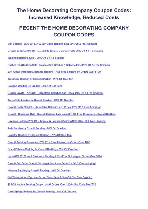 The Home Decorating Company Coupon