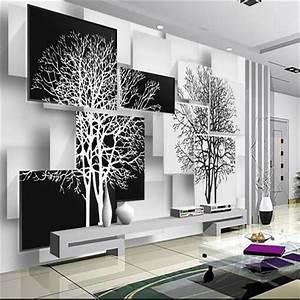 Papier Peint Arbre Noir Et Blanc : personnalis 3d papier peint mural simple noir et blanc arbre 3d fond mur salon canap tude ~ Nature-et-papiers.com Idées de Décoration