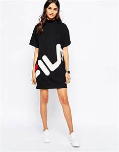 Lyst - Fila High Neck T-shirt Dress With Large Front Logo in Black
