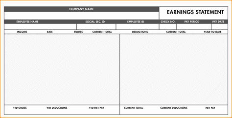 blank pay stub template downloads simple salary slip