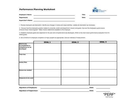 employee plan template employee performance planning worksheet template exle v m d