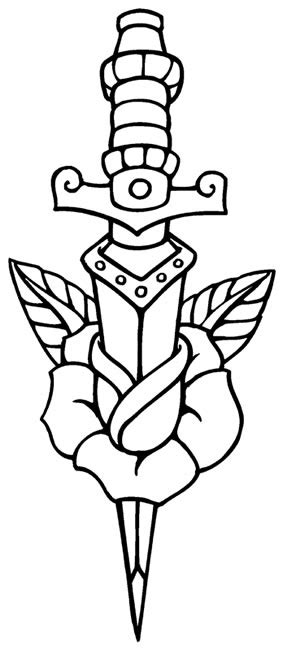 Rose and dagger | coloring pages | Pinterest | Tattoo, Tattos and Tatting