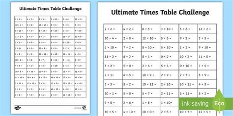 ks1 ultimate times tables challenge worksheet activity sheet