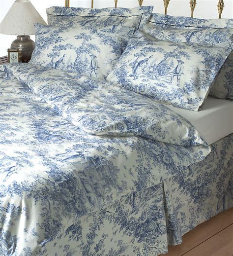 Toile De Jouy Blue Bedding Set 100% Cotton Ebay