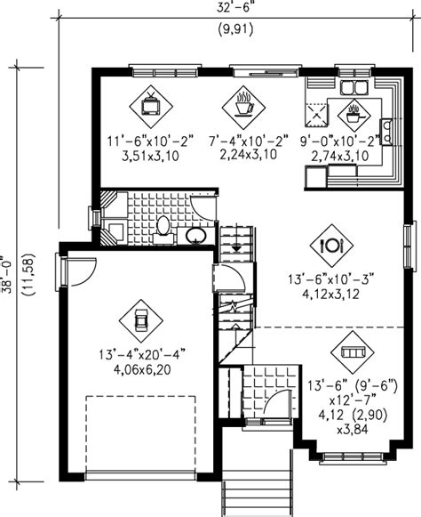 Contemporary Style House Plan  3 Beds 15 Baths 1560 Sq