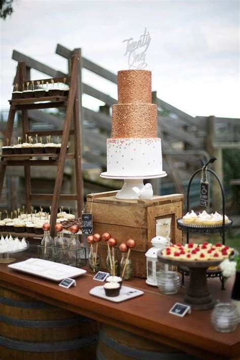 karas party ideas rustic gold  bronze st birthday