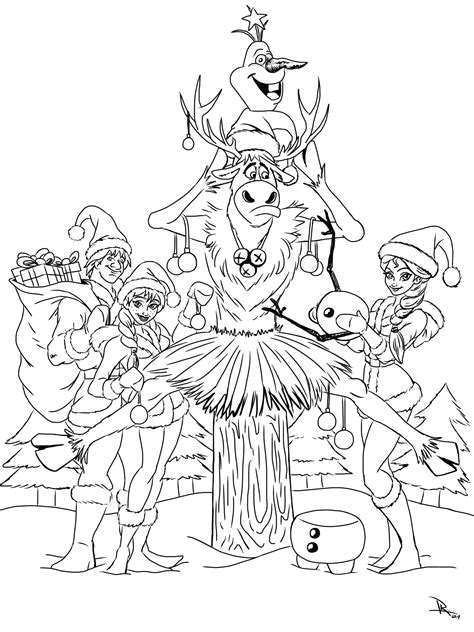 frozen christmas coloring page coloring pages