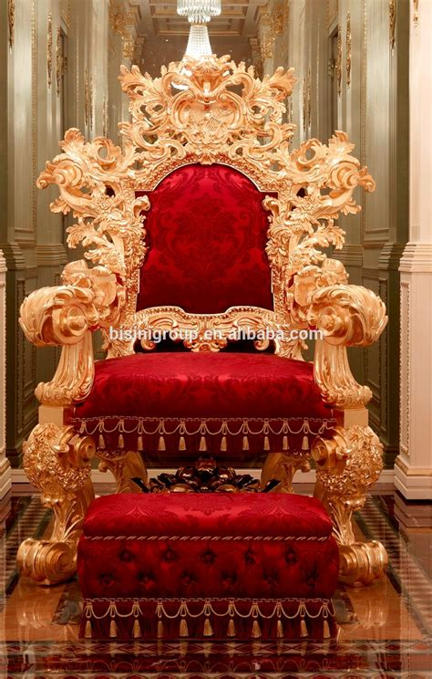 luxurious royal solid wood king chair  stoolimperial carved wooden throne armchair