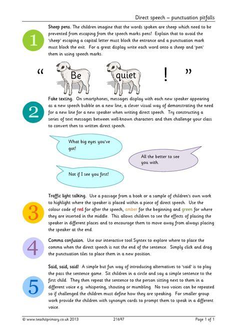 eyfs ks1 ks2 direct speech teachit primary