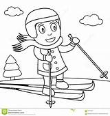Skiing Snow Coloring Cute Ice Park Illustration Background Drawing Clipart Isolated Eps  Funny Dreamstime Vector Preview Illustrations sketch template