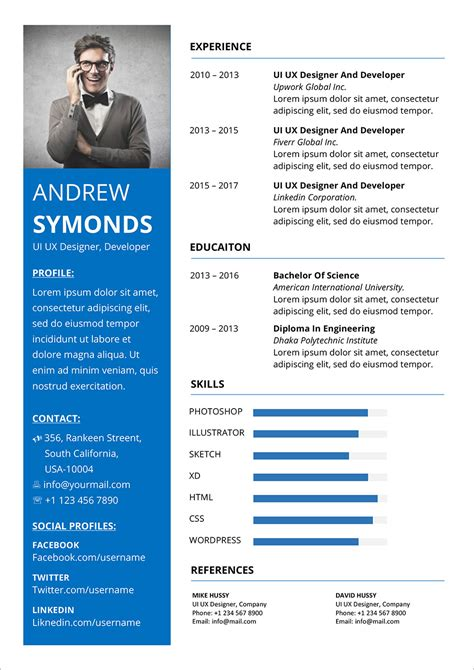 modern resume template  word docx format good resume