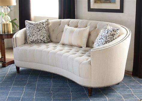 sf curved  button tufted sofa  nailhead trim