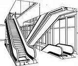 Escalator Clipart Escalators Coloring Pages Clipground Getcolorings Template Sketch Type sketch template