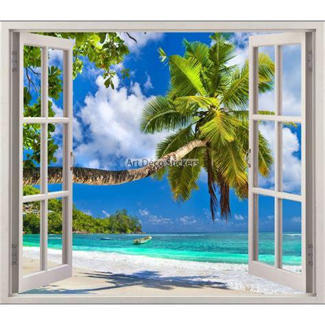 deco chambre noir et blanc sticker fenêtre trompe l 39 oeil plage palmier réf 5441