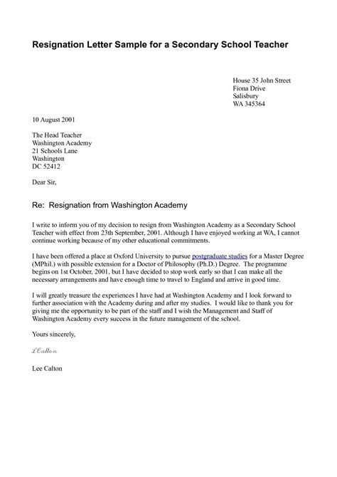 exle of letter of resignation resignation letters 12662