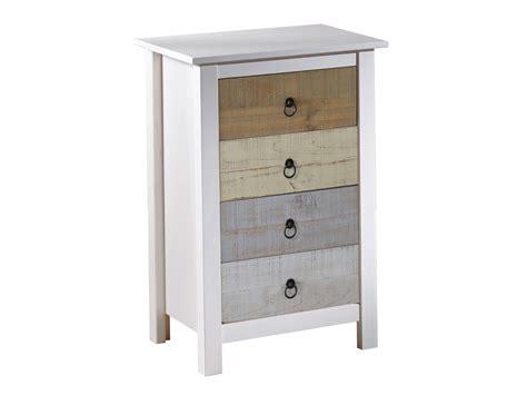 meuble cuisine en pin chiffonnier en bois massif avec 4 tiroirs hauteur 80 cm flora