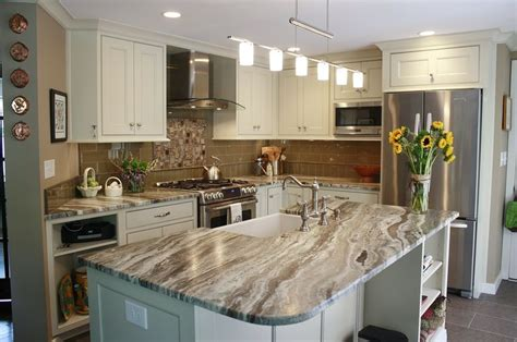 this kitchen features brown leathered quartzite