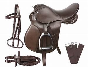 NEW ALL PURPOSE BROWN LEATHER ENGLISH HORSE SADDLE BRIDLE ...