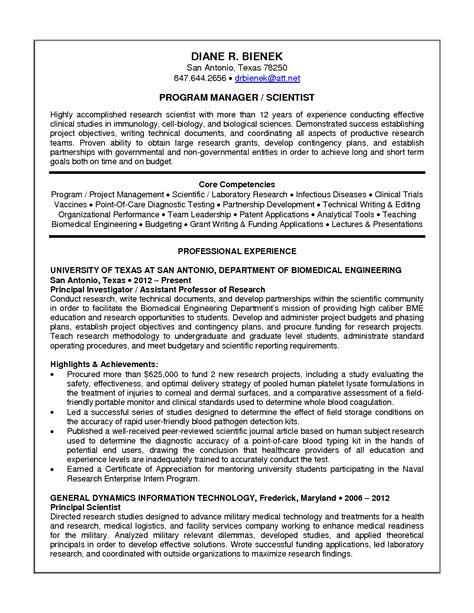 research scientist resume exle resume template 2017