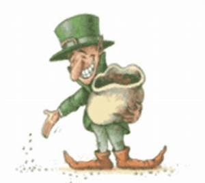 Leprechaun, Shamrock and pot of gold moving clip art ...