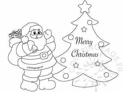 Santa Merry Template Coloring Greeting Sheets Dog
