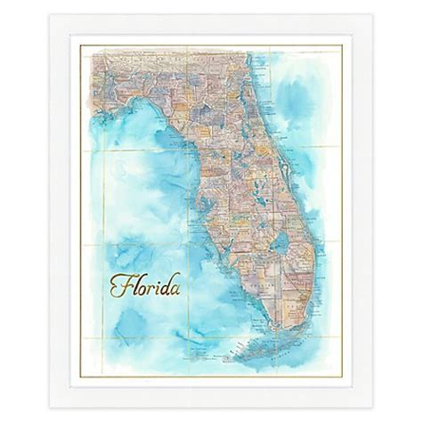 Florida Map Watercolor Wall Art   Bed Bath & Beyond